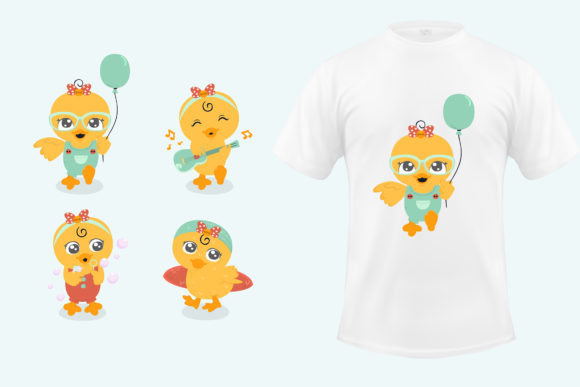 Little Duck Illustration Colletion Graphic Product Mockups By april_arts
