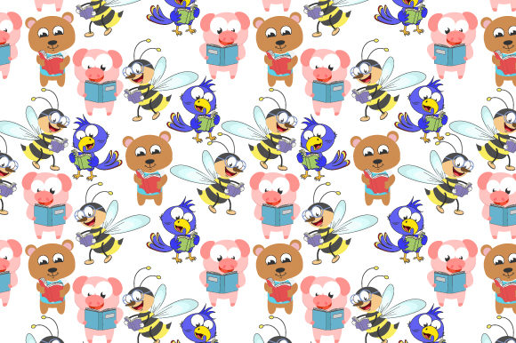 Pattern Design With Cute Animal Cartoon Graphic By Curutdesign Creative Fabrica