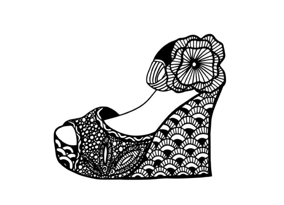 Wedge Shoe, Hand Drawn Illustration Graphic Illustrations By Santy Kamal