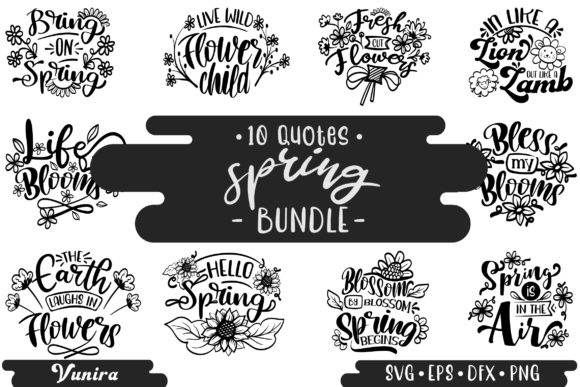 Print on Demand: 10 Spring Bundle | Lettering Quotes Graphic Crafts By Vunira