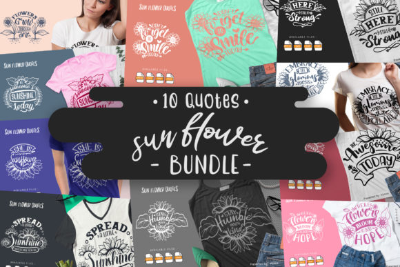 Print on Demand: 10 Sun Flower Bundle | Lettering Quotes Graphic Crafts By Vunira