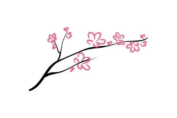 Cherry Blossom Branch Designs & Drawings Craft Cut File By Creative Fabrica Crafts