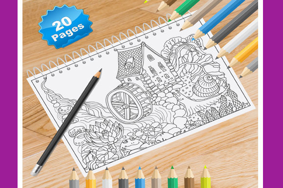 Print on Demand: 20 Country Cottages Coloring Pages Graphic Coloring Pages & Books By Coloring World
