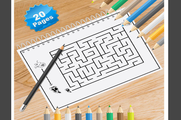 20 Mazes Coloring Pages for Kids Graphic Coloring Pages & Books Adults By Coloring World