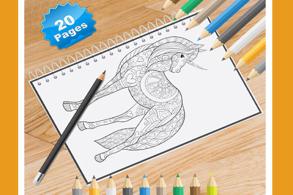 Print on Demand: 20 Unicorn Coloring Pages for Adults Graphic Coloring Pages & Books Adults By Coloring World