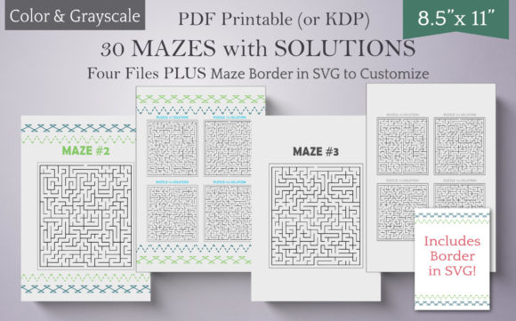 Print on Demand: 30 Mazes for Activity Books-Color & Gray Graphic Teaching Materials By Digital Town