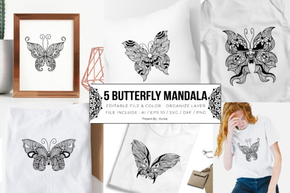 Print on Demand: 5 Butterfly Bundle | Mandala Graphic Crafts By Vunira