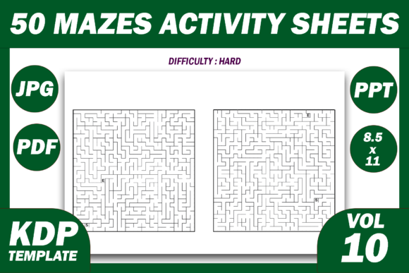 Print on Demand: 50 Maze Puzzles KDP Interior Volume 10 Graphic KDP Interiors By Fayne