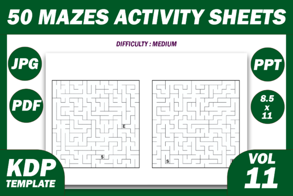 Print on Demand: 50 Maze Puzzles KDP Interior Volume 11 Graphic KDP Interiors By Fayne