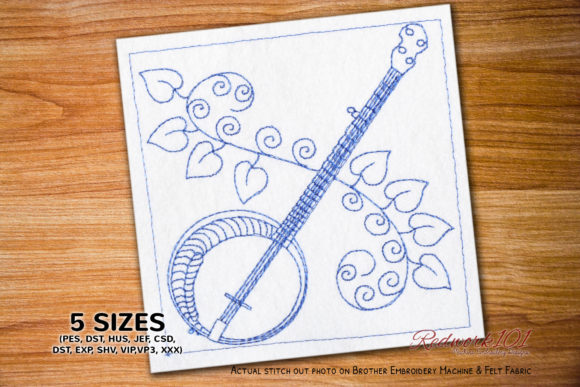 Banjo String Instrument Music Embroidery Design By Redwork101