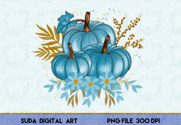 Print on Demand: Beautiful Pumpkins Blue Clipart Graphic Illustrations By Suda Digital Art