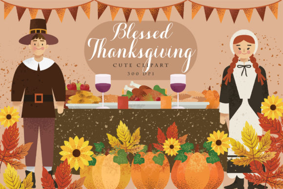Print on Demand: Blessed Thanksgiving Cute Clipart Graphic Illustrations By Caoca Studio