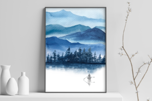 Print on Demand: Blue Mountains Watercolor Clip Arts and Graphic Illustrations By tatibordiu