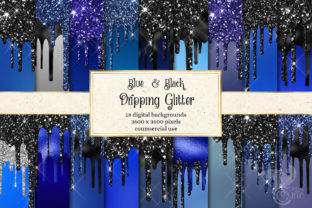 Print on Demand: Blue and Black Dripping Glitter Graphic Textures By Digital Curio