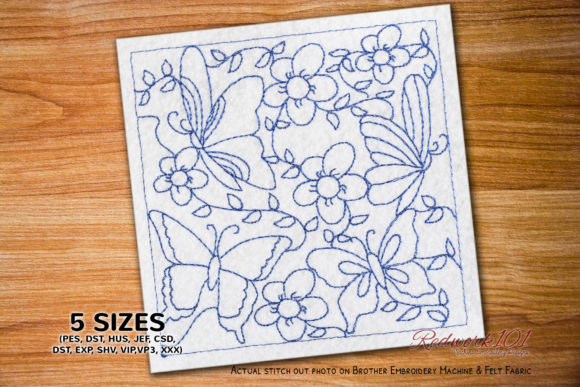 Butterflies on a Flower Paisley Embroidery Design By Redwork101