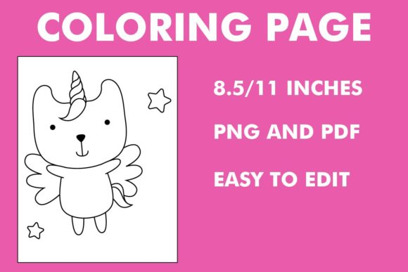 Print on Demand: Caticorn Coloring Page - Unicorn Graphic Coloring Pages & Books Kids By Mah Moud