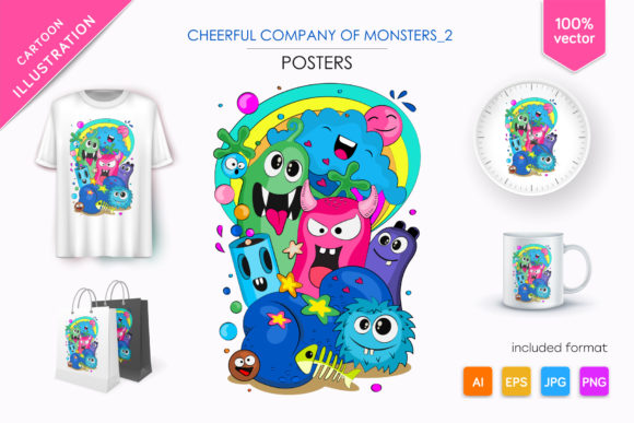 Cheerful Company of Monsters_2 Graphic Illustrations By andreykeno2020