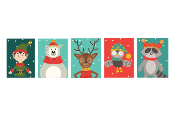 Christmas Characters Set Vector Graphic Illustrations By 1riaspengantin