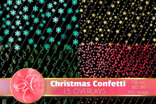 Christmas Glitter Confetti, Overlays Graphic Illustrations By paperart.bymc