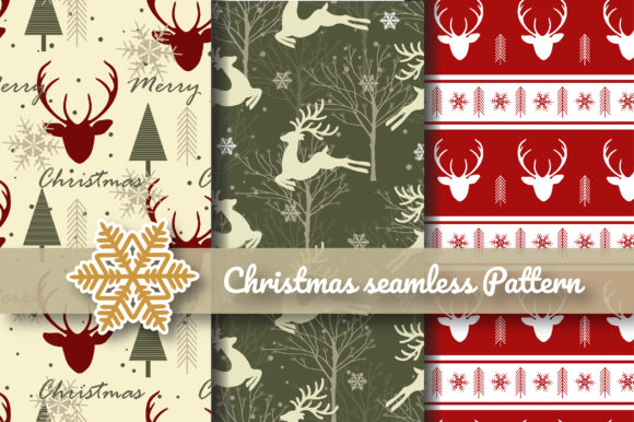 Print on Demand: Christmas Reindeer Seamless Graphic Patterns By jannta