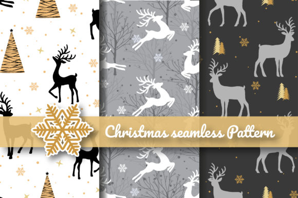 Print on Demand: Christmas Reindeer Silhouette Seamless Graphic Patterns By jannta