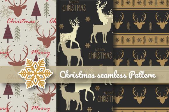 Print on Demand: Christmas Silhouette Reindeer Seamless Graphic Patterns By jannta