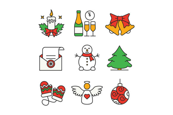 Print on Demand: Christmas and New Year Color Icons Set Graphic Icons By bsd studio