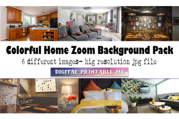 Print on Demand: Colorful Home, Zoom Background Pack Graphic Photos By DigitalPrintableMe