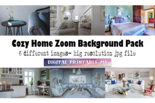 Print on Demand: Cozy Home, Zoom Background Pack, 6 Pics Graphic Photos By DigitalPrintableMe