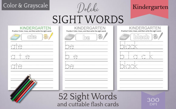 Print on Demand: Dolch Sight Words Tracing: Kindergarten Graphic Teaching Materials By Digital Town
