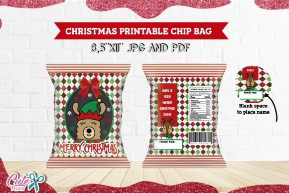 Elf Llama- Christmas Chip Bag Printable Graphic Print Templates By Cute files