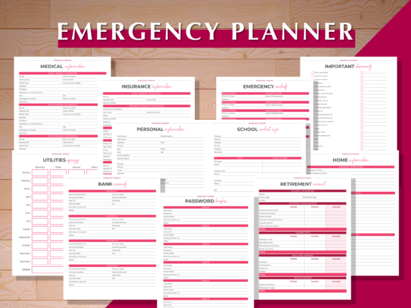 Print on Demand: Emergency Planner Graphic Print Templates By AscendPrints