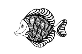 Fish Doodle, Hand Drawn Zentangle Style Graphic Illustrations By Santy Kamal
