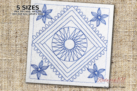Floral Box Design Lineart Design Zentangle Embroidery Design By Redwork101