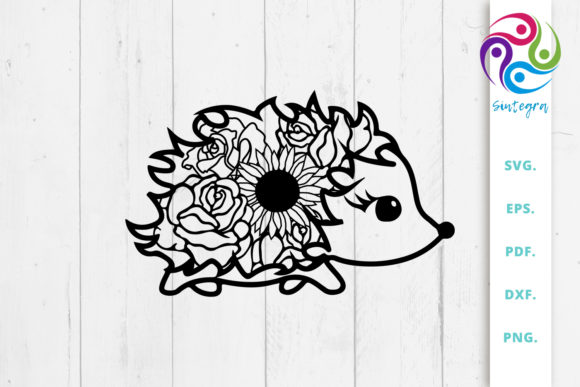 Print on Demand: Floral Cute Hedgehog Svg Zentangle Graphic Crafts By Sintegra