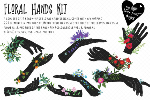 Floral Hands Kit Graphic Illustrations By My Little Black Heart