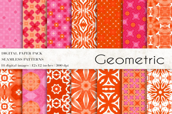 Geometric Boho Digital Papers Graphic Patterns By BonaDesigns