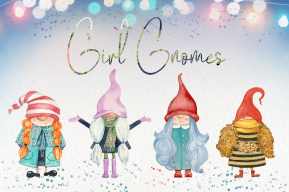 Girl Gnomes Watercolor Clip Art Set Graphic Illustrations By tatibordiu