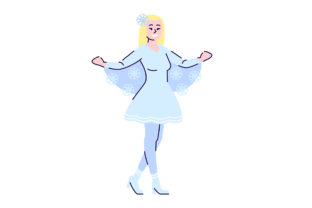 Print on Demand: Girl Dressed in Snowflake Costume Graphic Illustrations By bsd studio