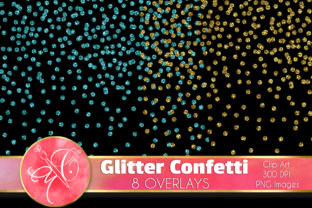 Glitter Confetti Clip Art, Overlays Graphic Illustrations By paperart.bymc