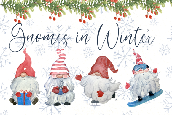 Gnomes in Winter Watercolor Clip Art Set Graphic Illustrations By tatibordiu