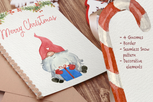 Gnomes in Winter Watercolor Clip Art Set Graphic Preview