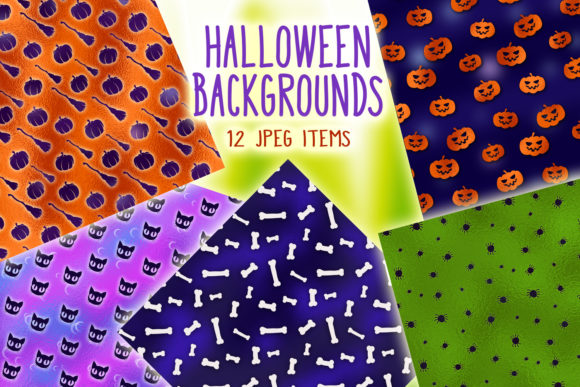 Print on Demand: Halloween Backgrounds - 12 Digital Paper Graphic Backgrounds By tatiana.cociorva