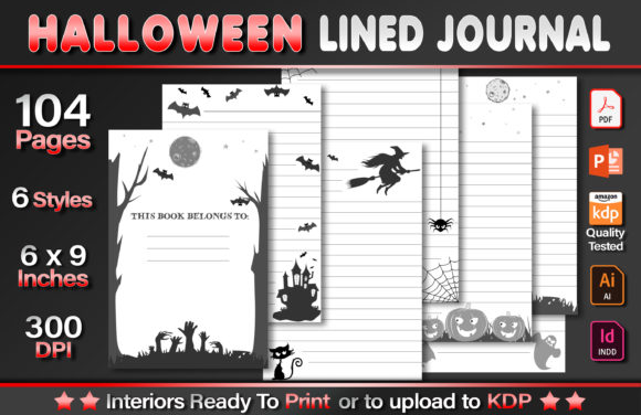 Halloween Lined Journal Graphic KDP Interiors By okdecoconcept