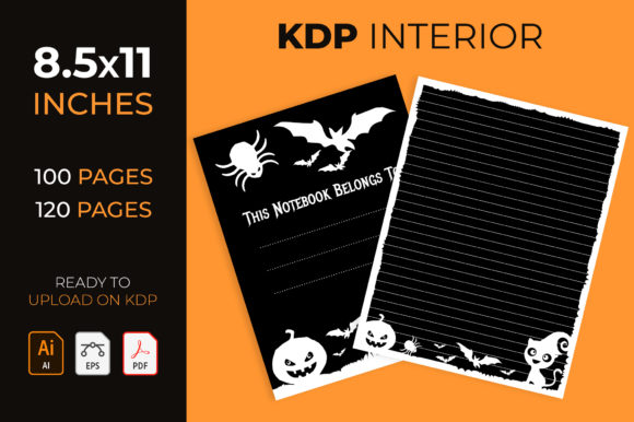 Halloween Lined Journal in Black - Kdp Graphic KDP Interiors By medelwardi