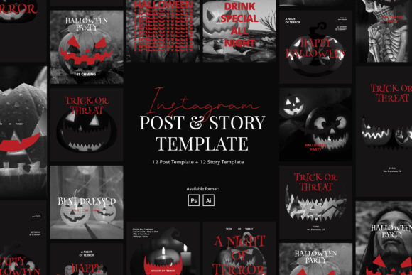 Print on Demand: Halloween Party Event Instagram Template Graphic Graphic Templates By peterdraw