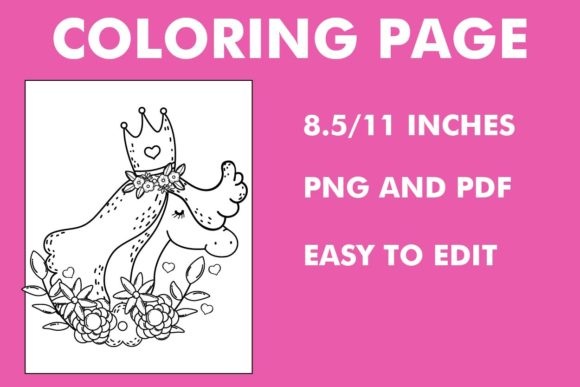 Print on Demand: Hand Draw Unicorn Coloring Page Graphic Coloring Pages & Books By Mah Moud