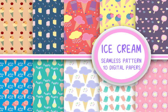 Ice Cream Seamless Pattern Digital Paper Graphic Patterns By PearlyDaisy