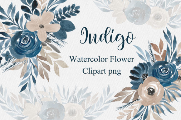 Indigo Watercolor Flower Clipart PNG Graphic Illustrations By PinkPearly