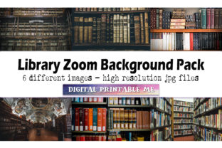 Print on Demand: Library Zoom Background Pack, 6 Digital Graphic Photos By DigitalPrintableMe